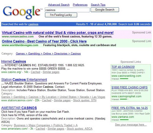 premiers résultats payants sur Google Adwords