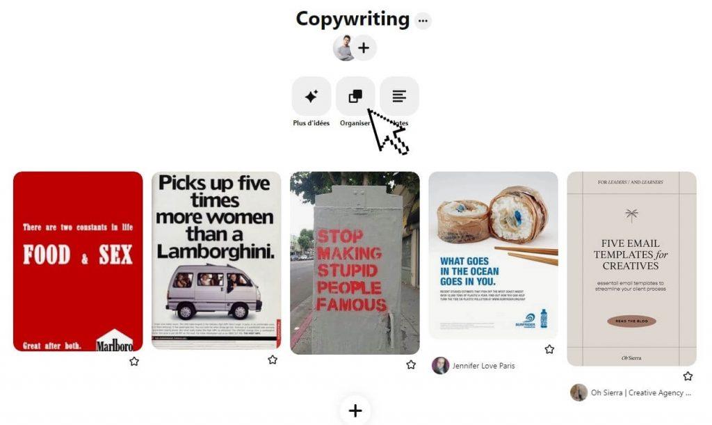 capture d'écran Swipe File Copywriting sur Pinterest