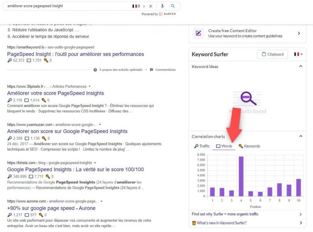 Capture d'écran des résultats de Google avec l'application Keyword Surfer