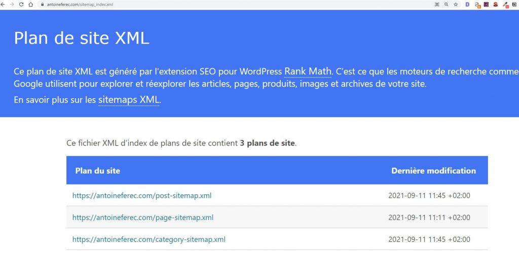 Fichier sitemap.xml