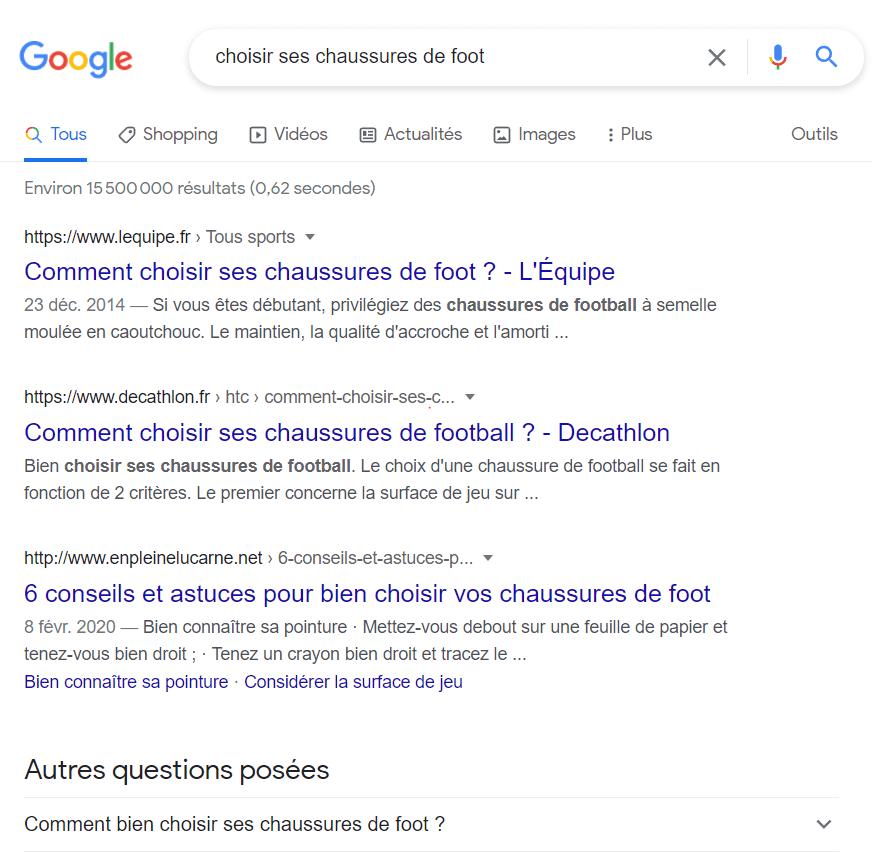 image des résultats de recherche de Google illustrant la formation SEO