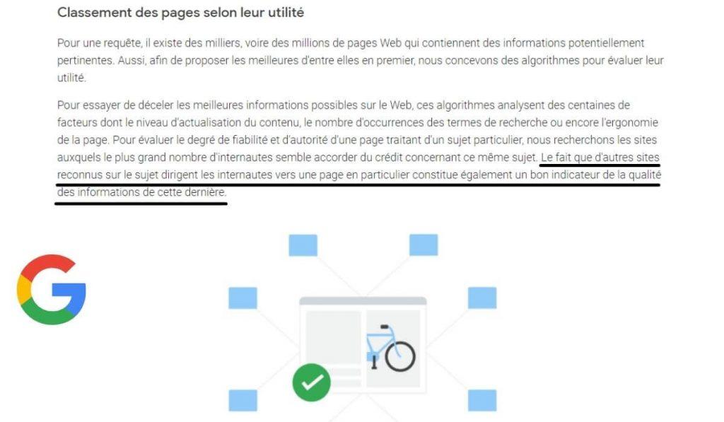 Google affirme que les backlinks sont un bon indicateur en SEO