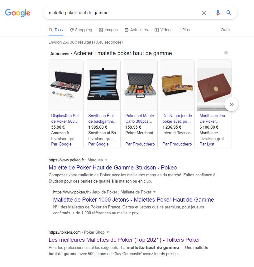 capture d'écran des résultats de recherche de Google